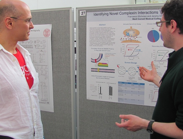 Researchers discussing research poster.